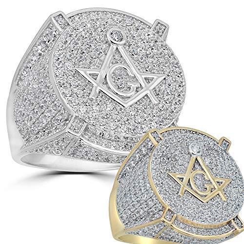Harlembling Real Solid 925 Silver Mens Freemason Masonic Ring - Sizes 7-13 - Iced Out Hip Hop Ring (Yellow-Gold, 9)
