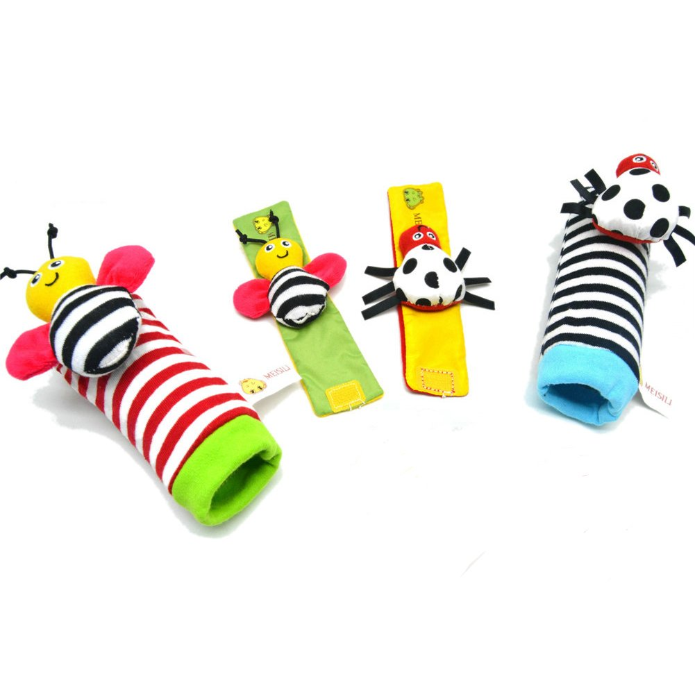 Deardeer 4 x Baby Infant Animal Wrist Rattles Hands Foots Finders Development Soft Toys-Bee and Ladybug thebestchoice2016