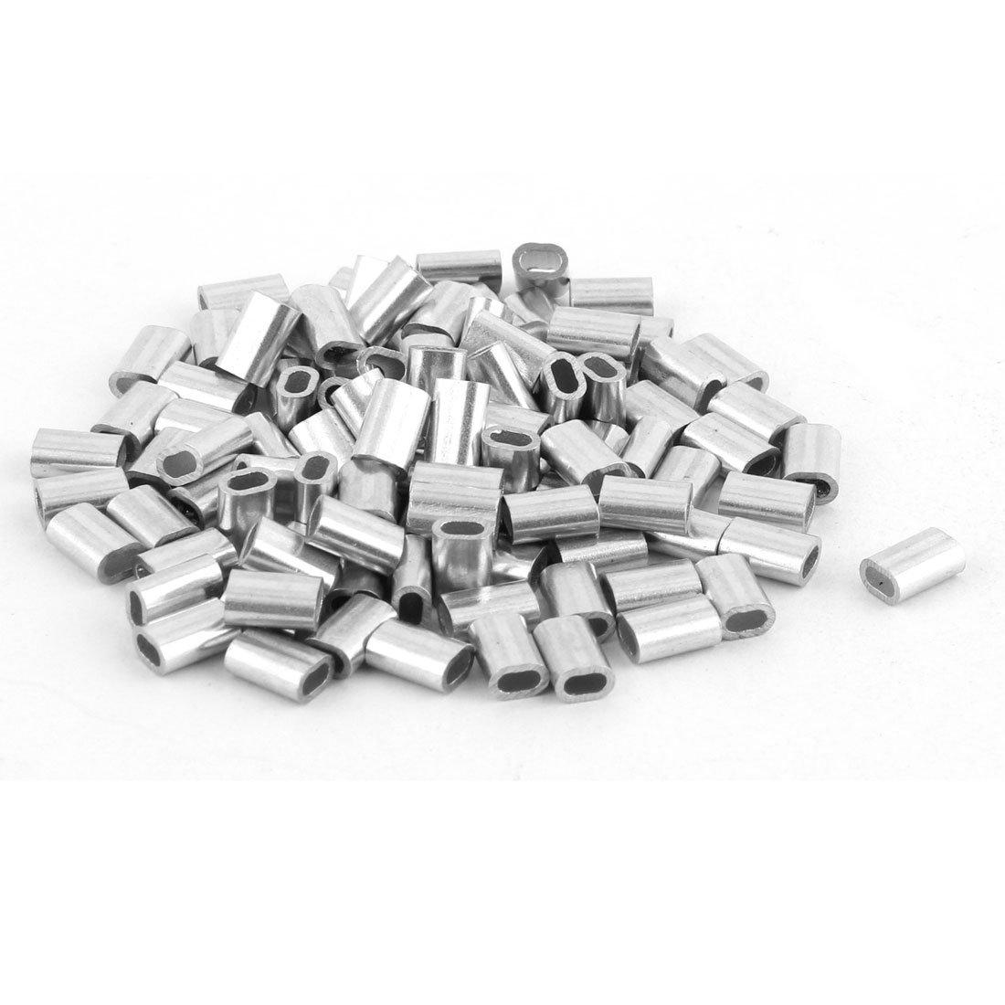 sourcingmap® Aluminium Hülsen Clip Ausstattung 5mm x 3mm für 1, 5mm Durchm. Stahl Drahtseil sourcing map a16041500ux0616