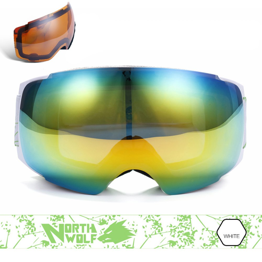 B SE7VEN Administrator Snowboard Goggles,Dual-layer Lens Ultra Wide-angel Spherical Lens Replaceable Night Vision Lenses
