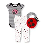 The Children's Place Baby Girls Playwear Bundle with Bib, Black, 0-3MONTHS