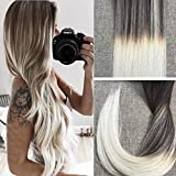 Full Shine 18 inch 50gram 20 Pcs Ombre Balayage Tape on Remy Hair Extensions Color #2 Dark Brown Fading to #60 Platinum Blonde Dip Dyed Salon Quality Professional Adhesive Tape Hair Extensions