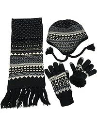 f84a061da99 Big Boys Racer Striped Knitted Hat Scarf Glove Fleece Lined Set