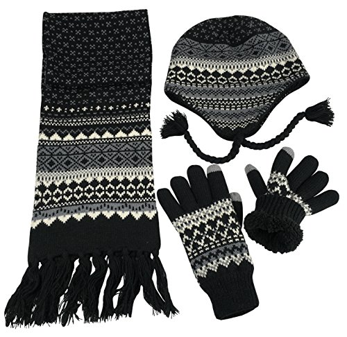 N'Ice Caps Big Boys Racer Striped Knitted Hat/Scarf/Glove Fleece Lined Set (Black/Grey/Multi, ()