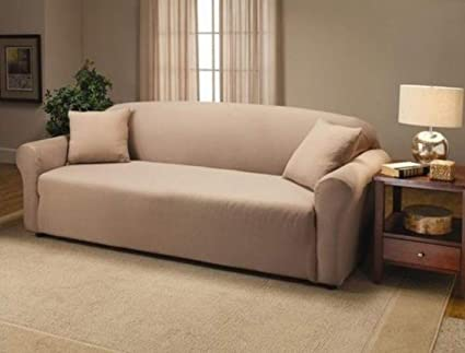 Elegant Comfort Luxury Furniture Jersey STRETCH SLIPCOVER, Sofa Linen Cream