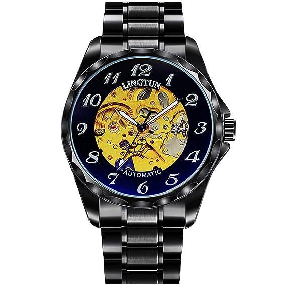 HombresS relojes mecánicos,Estudiantes hueco relojes clásicos relojes luminosos vintage-B