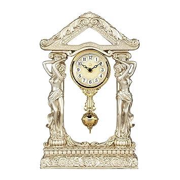 SESO UK- Diosa clásica Mantla Reloj de Mesa de Resina Creativa Escritorio silencioso Relojes Decorativos con un péndulo para la Sala de Estar (Color ...