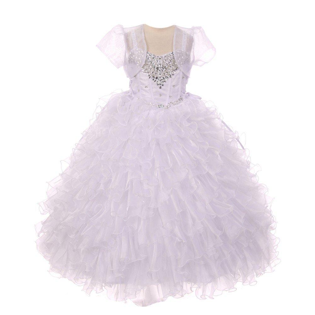 RainKids Little Girls White Heart Shape Beaded Organza Jacket Pageant Dress 6 by The Rain Kids