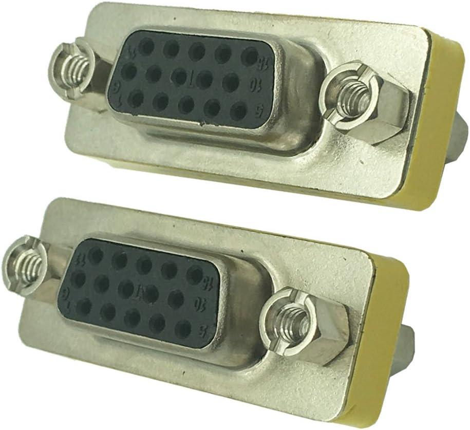 2 Pack F-F DONG SVGA Connector,15 HD//DB//15 VGA//SVGA KVM Gender Changer Adapter Female to Female