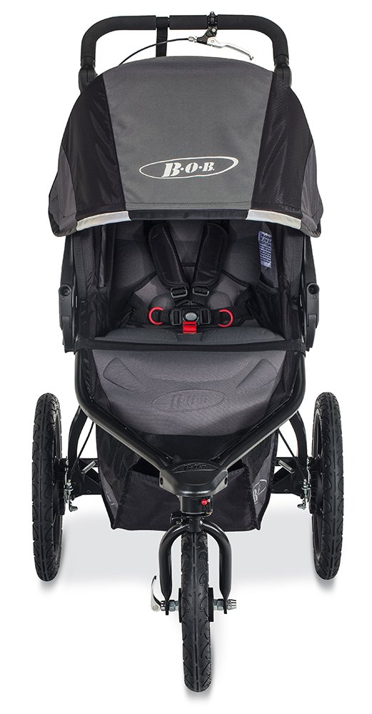 BOB Revolution PRO Jogging Stroller – Up to 75 Pounds – UPF 50 Canopy – Easy Fold – Adjustable Handlebar with Hand Brake, Black