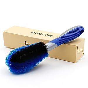 Aodoor voiture jante Brosse à laver Brosse, jantes de voiture pneu rayons Brosse de lavage à main Bleu