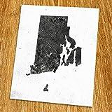 """Rhode Island Map Print (Unframed), Minimalist Map Art, Scandinavian Map Poster, Industrial, Loft, Hipster, Living Room Decor, 8x10"""", TE-090"""