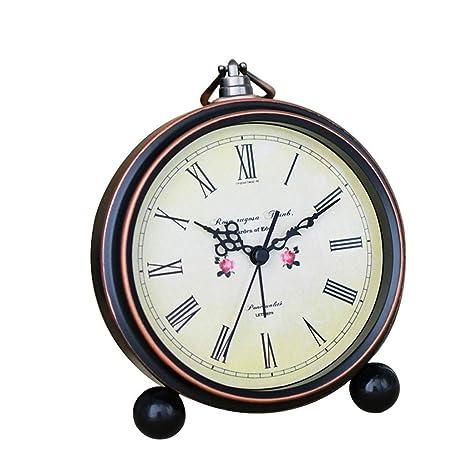 Fireplace Clocks Familiar Retro Mute Clock, Alarm Clock with Student Bedside, Living Room,