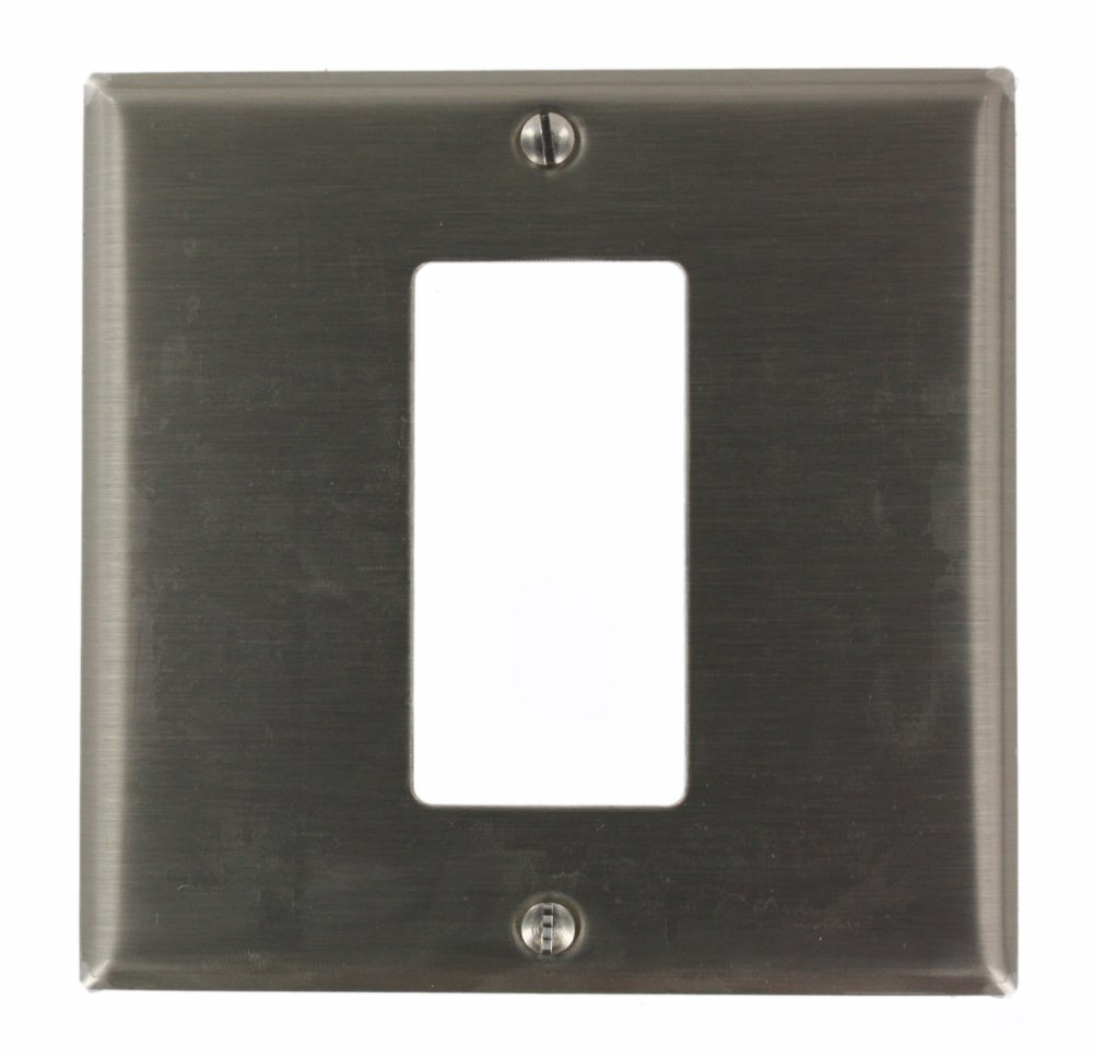 Leviton S746-N 2-Gang 1-Decora/GFCI Centered Device Decora Wallplate, Device Mount, Stainless Steel