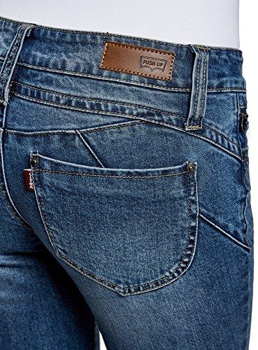 sur Femme Ultra Zip avec Push Bleu Up Jean 7500w la oodji Dcoratif Poche RAx8wdg