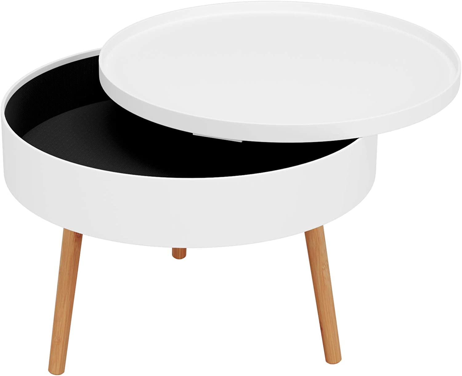 Homfa Round Coffee Table Living Room Side Table Sofa End Table with Removable Lid Storage Box Waiting Area Table White 60x60x46cm