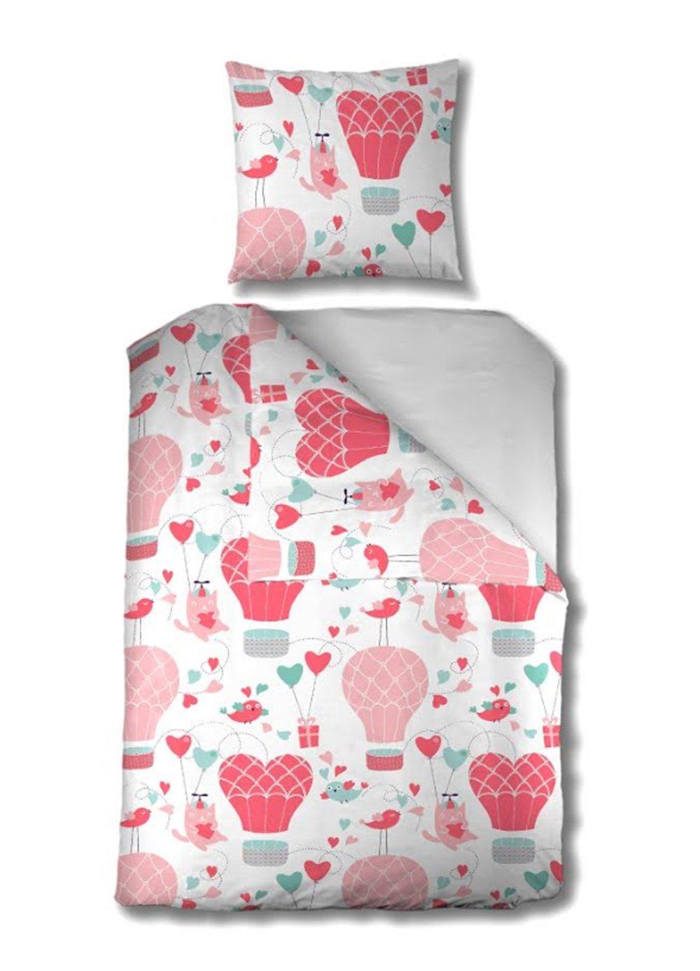 Aminata Kids – Bettwäsche 135x200 cm Kinder Mädchen Heißluftballon Baumwolle + Reißverschluss Pink Rosa Weiß Herzen Vogel Katze Tier Ballon Kinderbettwäsche 2-teiliges Bettwäscheset Bettbezug Ganzjahr
