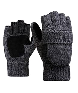 GREEN&RARE Gloves best gift Men Unisex Winter Thicken Knitted Fingerless Gloves Touch Screen Anti-Skid Flip Half Finger Mittens Convertible Hemming Wrist Warmer 4 Colors