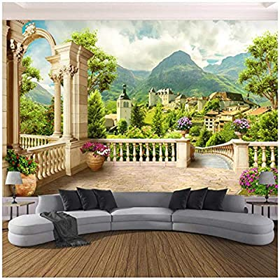 "WSTDSM Custom-3D Photo Wallpaper-Roman Column Balcony Small Town Nature Landscape-Room Bedroom Wall Mural-Wallpaper Home Decor-300(W) x200cm(H)(9'2""x5'11"") ft"
