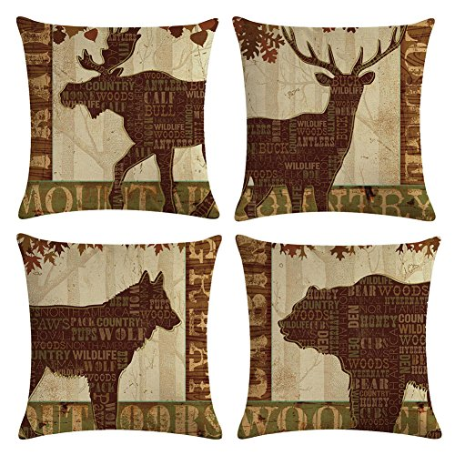 Decroitem Vintage Wild Animals Deer Elk Moose Bear Throw Pillow Covers Fall Decor Wildlife in Forest Mountain Cotton Linen Cushion Cover Pillow Cases 18 x 18 inches (Animals 5) (Pillows Throw Lodge)