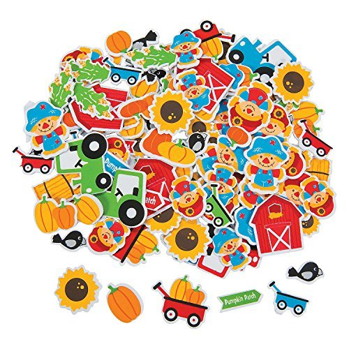 Fun Express Fall Harvest Pumpkin Patch Autumn Themed Self Adhesive Foam Craft Shapes - 500 Pieces