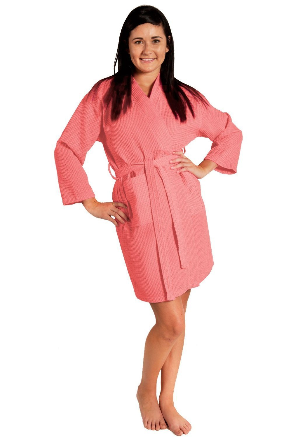 Soft Touch Linen Lightweight Knee-Length Waffle Kimono Robe, Bridesmaids and Spa Bathrobe (One Size - Large, Coral)
