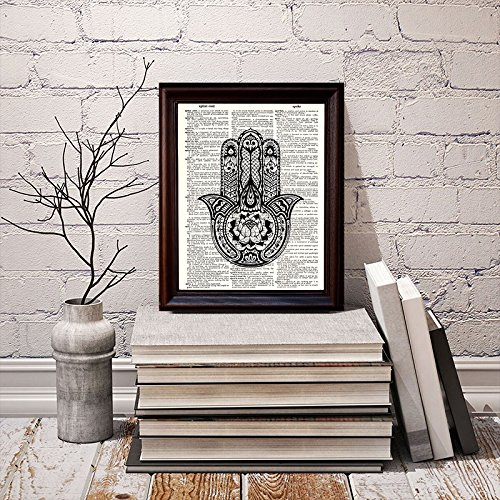 Fresh Prints of CT Hamsa Hand 2 Dictionary Art Print Printed On Authentic Vintage Dictionary Book Page 8 x 10.5
