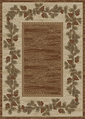 Rug Empire Rustic Lodge, Pine Cone Open Field Area Rug, 96