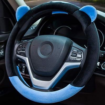 ChuLian Cute Winter Warm Plush Auto Car Steering Wheel Cover for Women Girls, Universal 15 Inch Car Accessories, Blue: Automotive