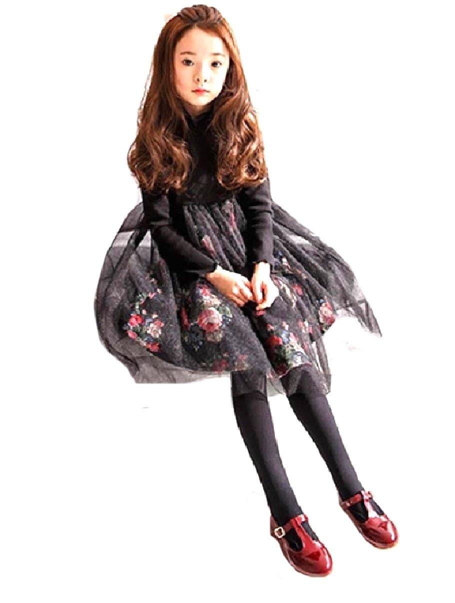 XQS Girls' Pattern Longsleeve Fine Cotton Princess Party Dresses Black 160