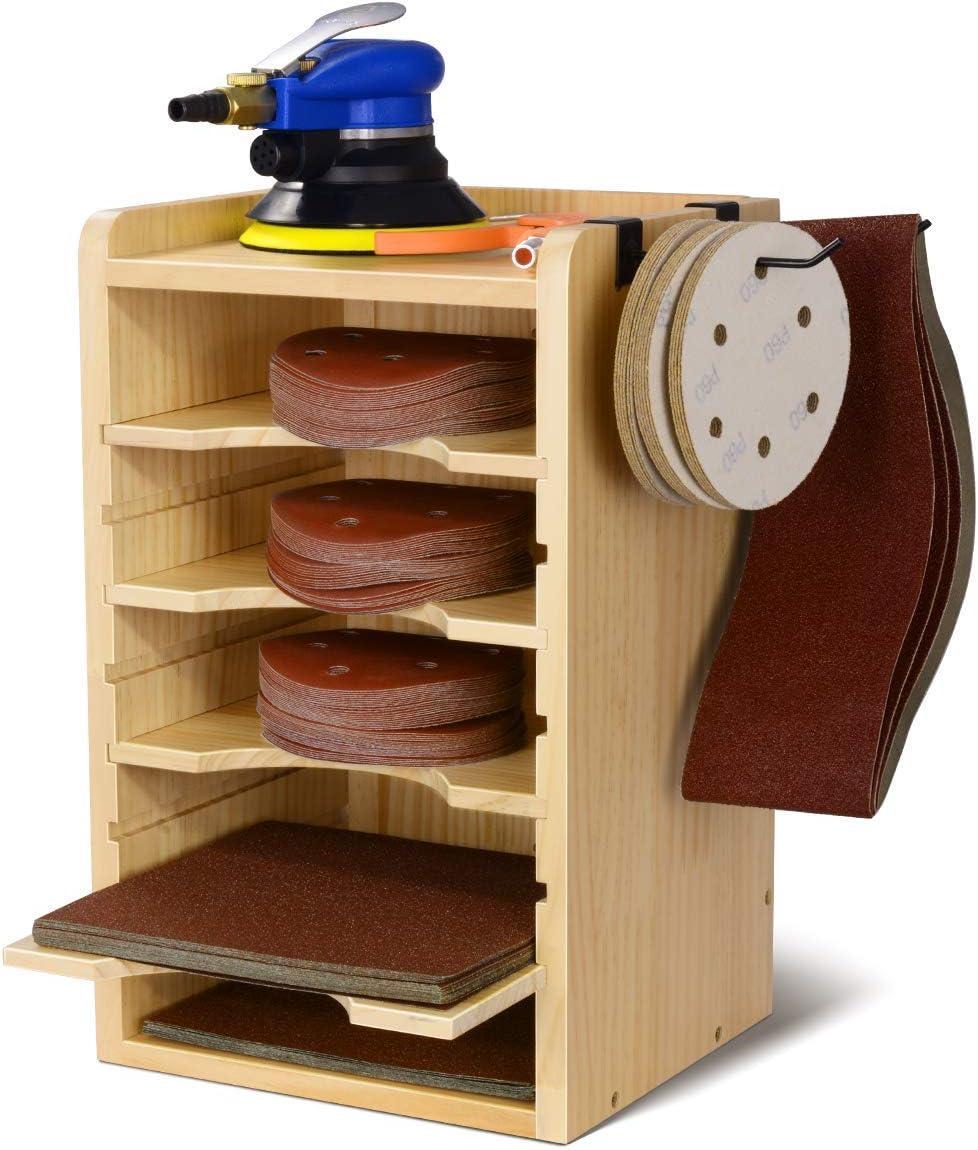 Sandpaper Discs Organizer, Sanding Discs Rack, Garage Storage Wall Holder for Sanding Accessories, Sanding Storage Station with 2 Hooks for Sanding Belt, Pads, Disks, Sander