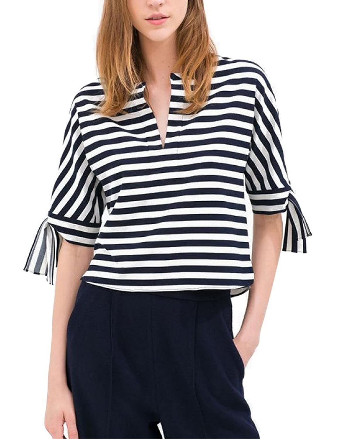 Allbebe Semi Open-Necked Blue And White Striped Fifth Sleeve Shirts