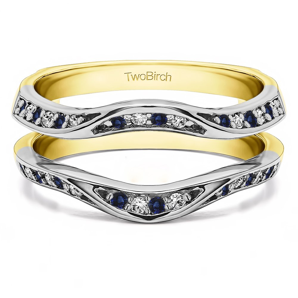 Fancy Classic Style Contour Ring Guard Enhancer Wedding Band with 0.44 cts of Diamonds and Sapphire in Silver by TwoBirch (Image #3)