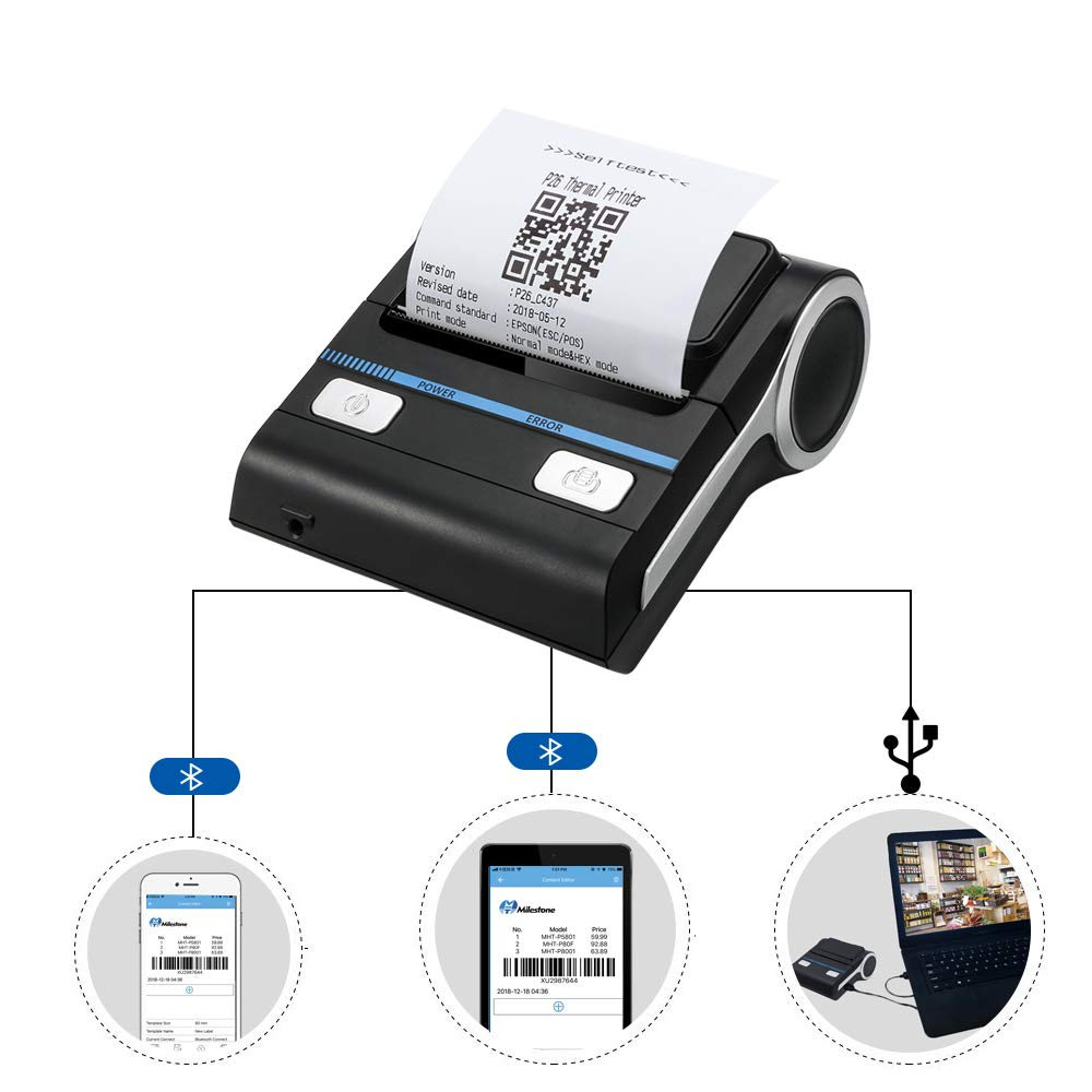 Mini Thermal Bluetooth Receipt Wireless Printers, Portable Personal Bill Wireless Bluetooth Receipt Printers (3inch Receipt Printer)