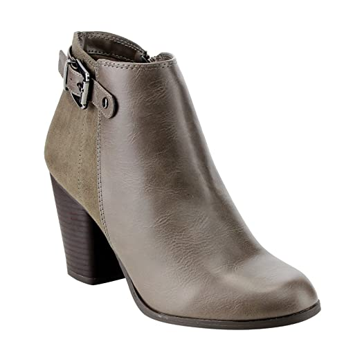 FE64 Women's Buckle Strap Stacked Block Heel Ankle Booties