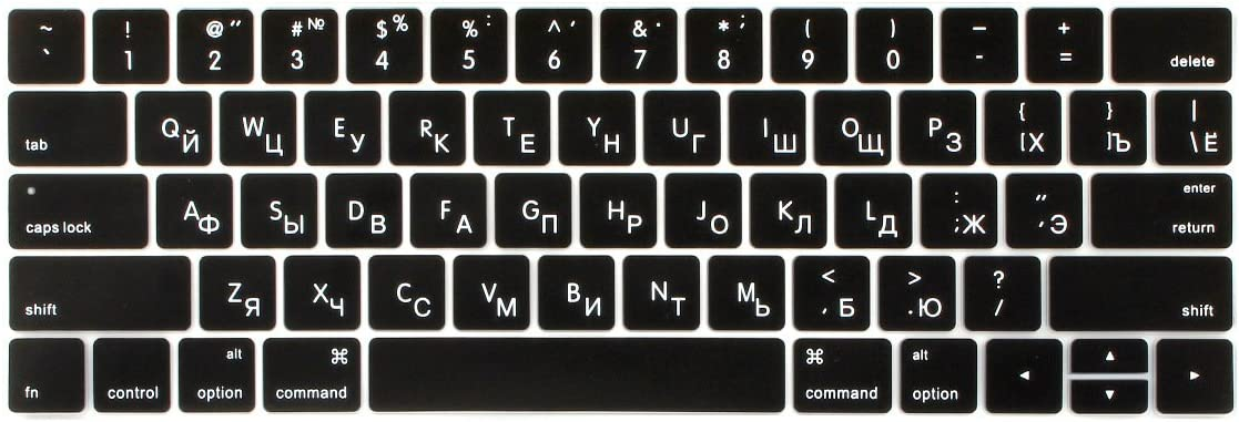 Batianda Russian Characters Keyboard Cover Skin for New Apple MacBook Pro 13 15 inch with Touch Bar 2019 2018 2017 & 2016 Release Premium Waterproof Silicone Keyboard Protector (Black)