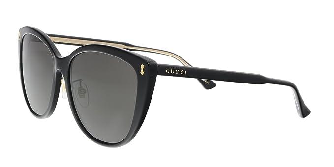 fa1c7d850c5 Gucci GG 0193SK 003 Black Plastic Cat-Eye Sunglasses Grey Lens ...