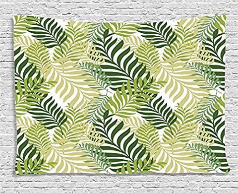 Leaves Decor Tapestry by Ambesonne, Tropical Exotic Palm Tree Leaves Natural Botanical Spring Summer Contemporary Graphic, Wall Hanging for Bedroom Living Room Dorm, 60 W X 40 L Inches, Green and - Christmas Tree Tapestry