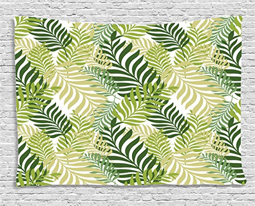 - Ambesonne Leaf Tapestry, Tropic Exotic Palm Tree Leaves Natural Botanical Spring Summer Contemporary Graphic, Wall Hanging for Bedroom Living Room Dorm, 60 W X 40 L Inches, Green Ecru