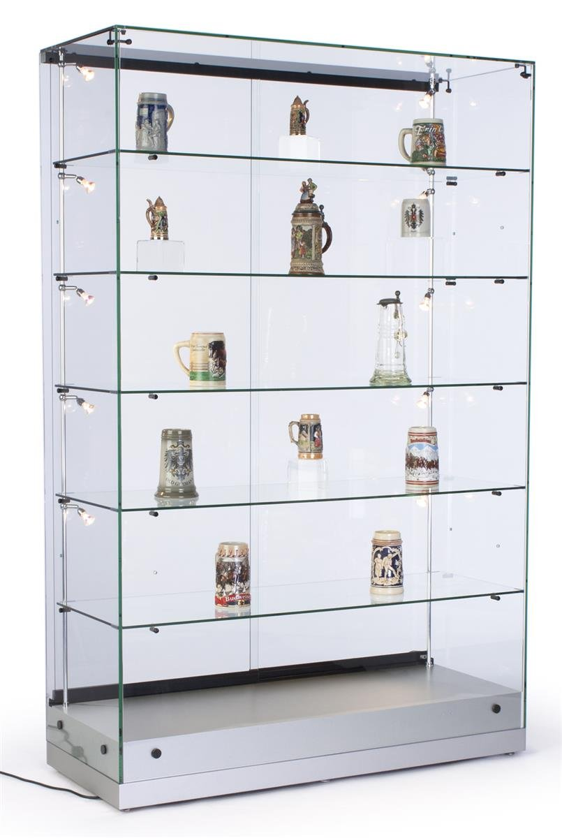 48'w Glass Display Cabinet with 5 Height-Adjustable Glass Shelves and 10 Side Lights, Curio Cabinet with Lockable Sliding Door - Silver, MDF Base Displays2go