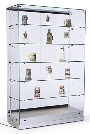 48u0026quot;w Glass Display Cabinet With 5 Height Adjustable Glass Shelves And  10 Side