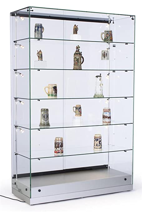 Superbe 48u0026quot; W Glass Display Cabinet With 5 Height Adjustable Glass Shelves And  10 Side