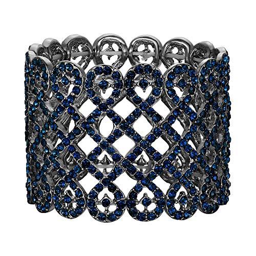 EVER FAITH Women's Rhinestone Crystal Art Deco Love Knot Wide Stretch Bridal Bracelet Blue Black-Tone