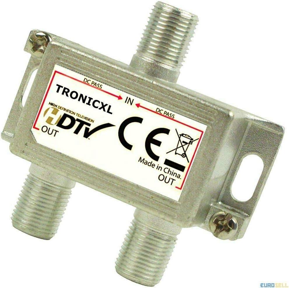 TronicXL Distribuidor de antena prémium, suave, conector F, para DVBT, DVBC, SAT, Unicable, televisión Unitymedia, Vodafone, Sky NetAachen Primacom, ...