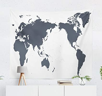 Map Of Australia Japan.Amazon Com Kutita Tapestry Wall Hanging World Map Contour