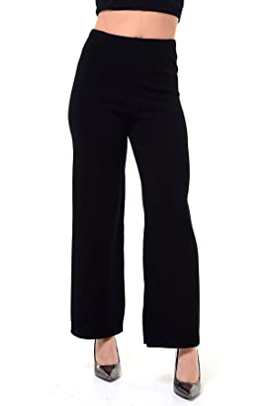 DigitalSpot New Ladies Women Knitted Plazzo Trousers Pants UK 8-14 Knitted  Plazzo Black UK