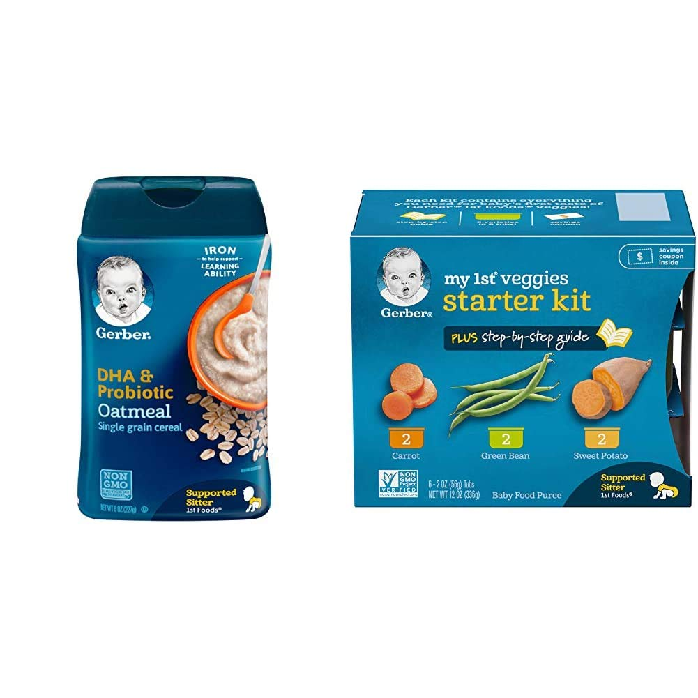 Gerber Baby Cereal DHA & Probiotic Oatmeal Baby Cereal, 8 Ounces (Pack of 6) & Purees My 1st Vegetables, Box of 6 2 Ounce Tubs (Pack of 2)