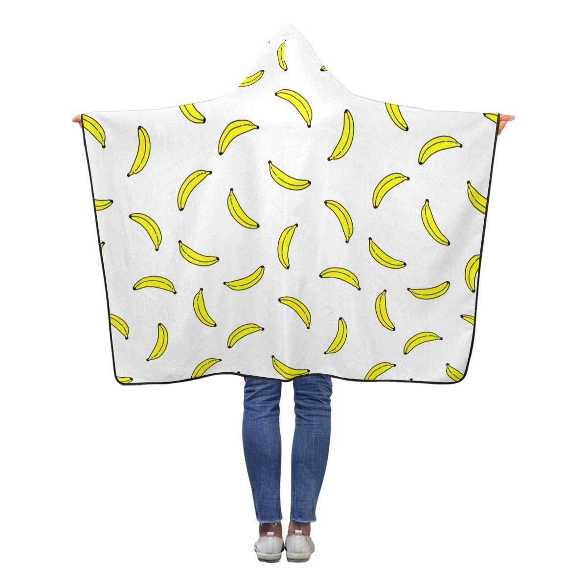 InterestPrint Bananas ホワイト ウェアラブルフード付きブランケット 60 x 50\ 50インチ 60 子供 女の子 50