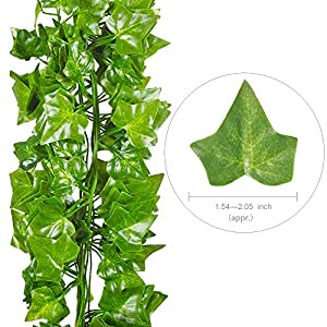QC Life 84 FT Artificial Ivy Fake Greenery Leaf Garland Plants Vine Foliage Flowers Hanging for Wedding Party Garden Home Kitchen Office Wall Decoration(12 Pack) 4