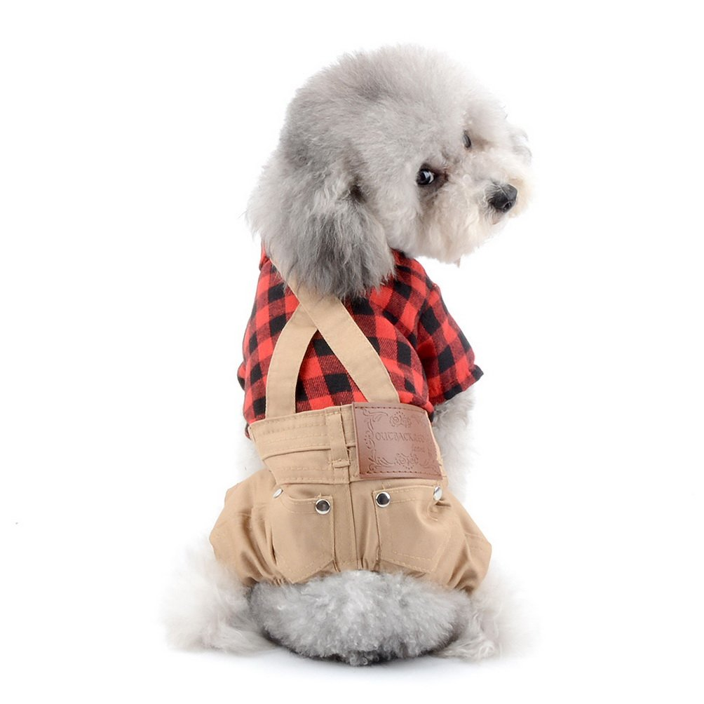 SELMAI Dog Overalls Birthday Outfits Plaid Dog Sweater Jumpsuit Small Pet Clothes Red Dog Tee Shirts with Khaki Pants L